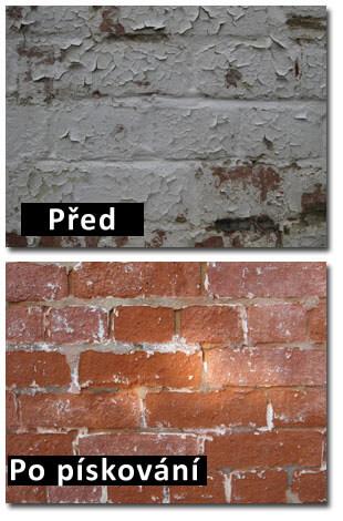 Odstranění barvy ze zdi - pískováním
