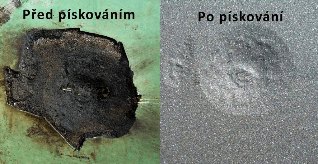Před a po pískování