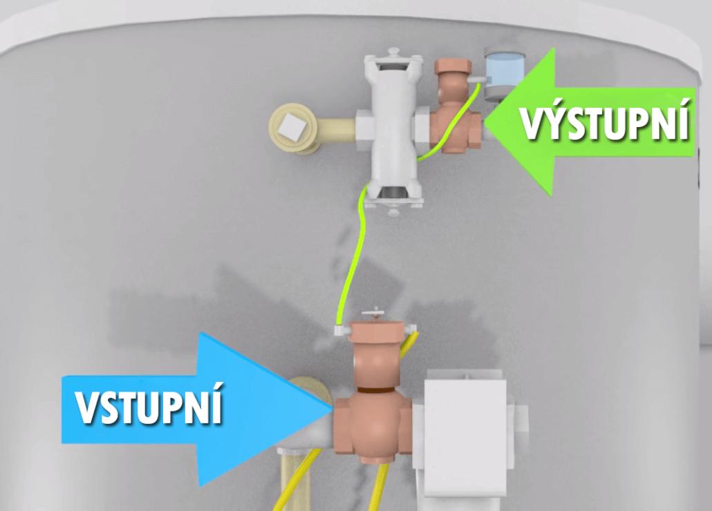 Vstupní a výstupní ventily mobilní pískovačky