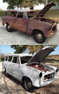 Ukázka renopvace karoserie auta (před a po)
