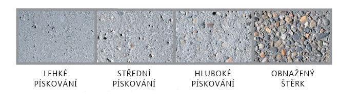 Stupně pískování betonu