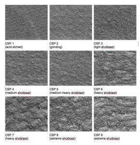 Vzorník zdrsnění betonu ICRI