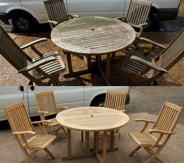 Renovace nábytku pískováním ukázka