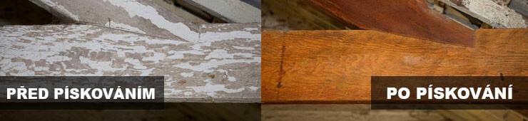 Ukázka píakování dřeva pískováním